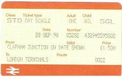 1998 Ticket at Clapham Junction